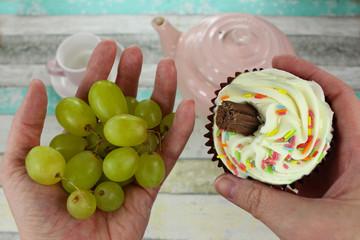 Healthy grapes or cupcake?