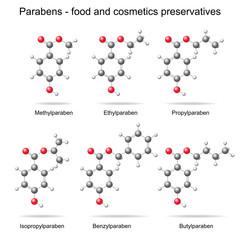 Parabens -  preservatives, 3d models