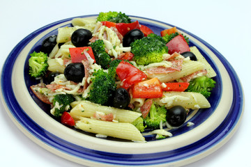 Pasta salad with olives, broccoli, salami and cheese.