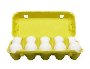 Cardboard egg box with eggs