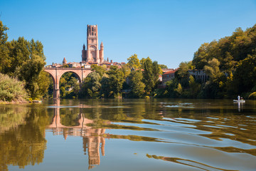 Bridge and cathedral in Albi and its reflection