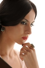 worried woman with special design jewelry