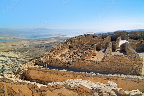 mata magnetyczna Ruiny zamku Herods twierdzy Masada w Izraelu