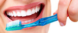 Teeth with toothbrush. - 76916412