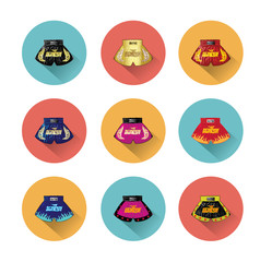 thai boxing shorts icons set with long shadow