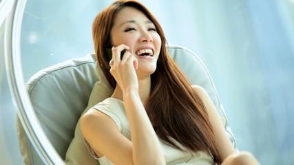 Ethnic Female Business Advisor Interior Design Apartment Relaxation Smart Phone