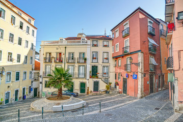 Traditional neighborhood (Alfama) in the city of Lisbon, Portuga