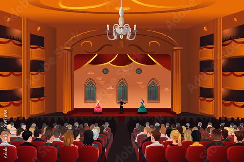 Spectators inside a theater - 76917664