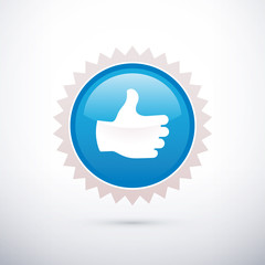blue sticker thumb up