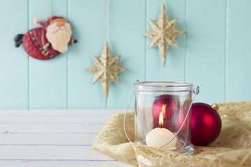 Christmas scene: candle, balls, Santa Claus, stars. Vintage.