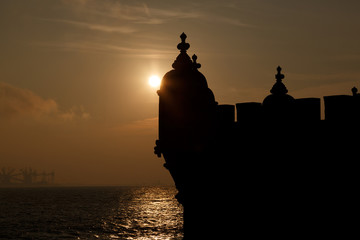 Europe, Portugal, Lisbon-silhouette of Belem Tower detail  at su