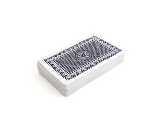 Blue deck of playing cards with clipping path