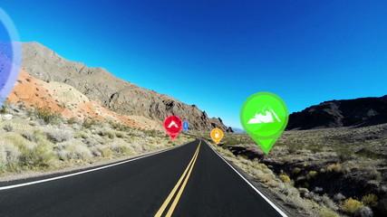 POV HUD Highway Driving Nevada America Satellite Motions Graphics Apps CG