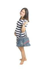 A pregnant woman with handbag