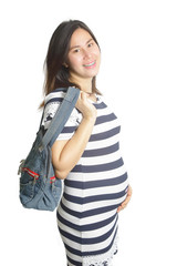 A pregnant woman with handbag