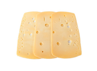 A Slices of Dutch cheese isolated over white