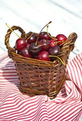 sweet cherry fruit in basket outdoor
