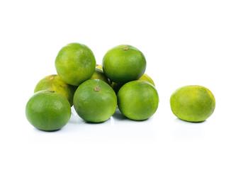 fresh green lemon isolated on white