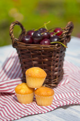 Sweet muffins with cherry outdoor