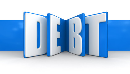 Label with debt (clipping path included)
