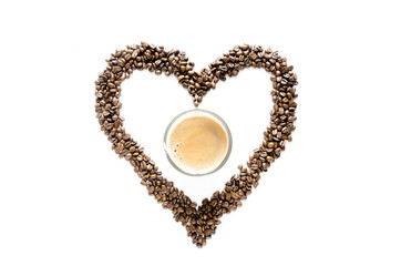 heart from coffee beans and cup