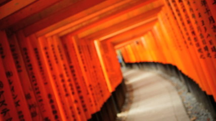 Torii gates Fushimi Inari Taisha shrine sacred Buddhist temple Kyoto Japan