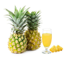 pineapple and Juice isolated on white