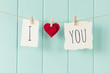 """Leinwanddruck Bild - """"I love you"""" hanging on a rope with clothespins. Vintage Style."""