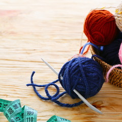 craft background with ball of yarn