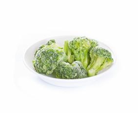 Frozen broccoli on white background