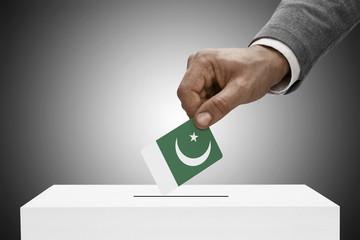 Ballot box painted into national flag colors - Pakistan