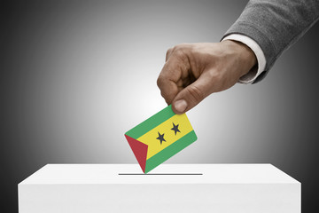 Ballot box and flag - Republic of Sao Tome and Principe