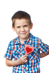 Funny boy with lollipop hearts