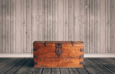 Treasure chest on a wooden floor
