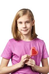 Beautyful girl with lollipop hearts
