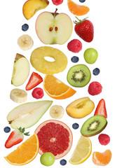 Fallende Früchte wie Orange Frucht, Apfel, Banane und Erdbeere