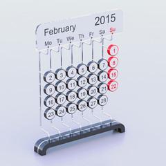 February 2015 futuristic calendar concept