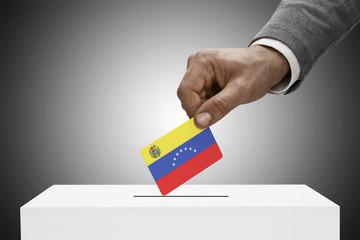 Ballot box painted into national flag colors - Venezuela