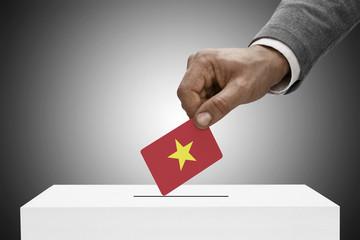 Ballot box painted into national flag colors - Vietnam