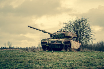 Tank on a battelfield