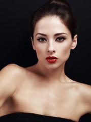 Beautiful makeup woman with red lipstick. Closeup