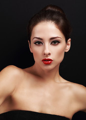 Sexy bright makeup female model with red lipstick