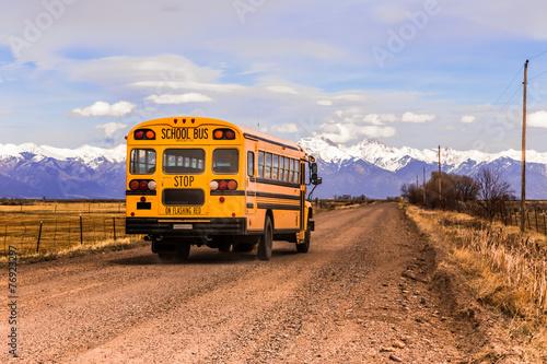 Leinwanddruck Bild Yellow School Bus