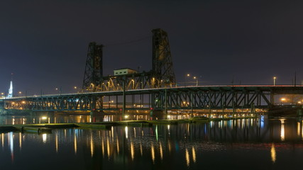 Time Lapse of Traffic on Steel Bridge in Portland OR at Night
