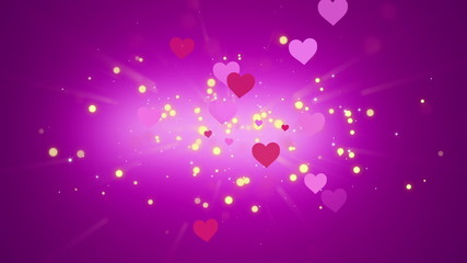 Hearts and Glowing Particles