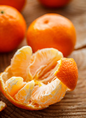 Tangerines on the wooden table