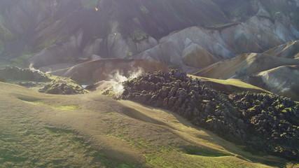 Aerial Iceland steam venting volcanic cooled lava Landmannalaugar