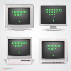 Set of retro computers. Vector