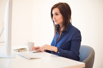 Woman on desk