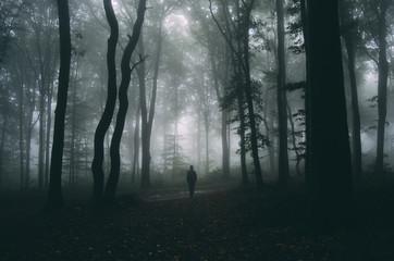 man in forest spooky halloween mood